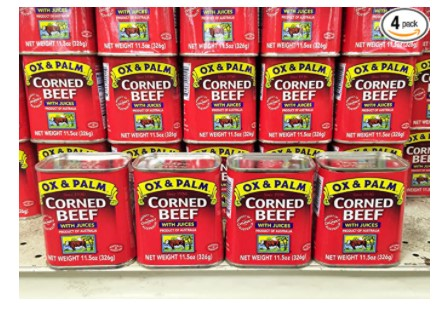 4 Packs Ox & Palm Corned Beef with Juices