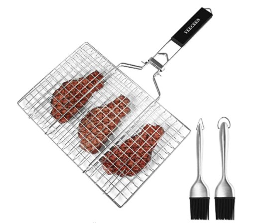 Folding Portable Stainless Steel Fish Grill Basket