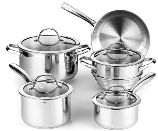 Cooks Standard 9 Piece Classic Stainless Steel Cookware Set