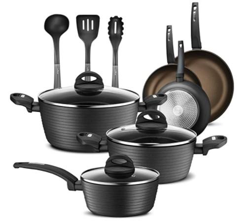 NutriChef 12 Piece Nonstick Kitchen Cookware Set